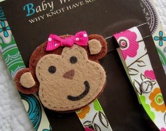 Baby Girl Pacifier Clip, Monkey Pacifier Clip, Baby Pacifier Clip, Pacifier Holder, pcmonkey02