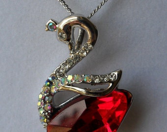 Ready to ship-Lovely Beautiful  diamond crystal, swan Red Crystal Pendant Necklace
