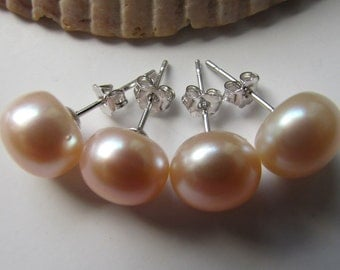2 Pairs of Peach Pearl Earrings,Bridal Gift,Wedding Gift,Bridesmaid Gift,Fresh Water Pearl Earrings-Free shipping