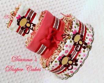 Baby Diaper Cake Pink Monkeys Girls Shower Gift or Centerpiece