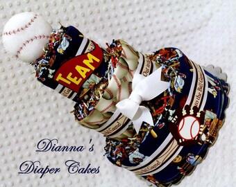 Baby Diaper Cake Old School Baseball Shower Gift or Centerpiece