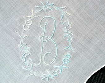 VINTAGE MONOGRAM HANKIE, Letter B, Cotton, Light Blue Embroidery on White Cotton, Pocket Handkerchief, Hand Rolled Hem, Excellent Condition