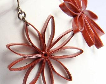 Rust Brown Star Earrings Big Nine Pointed Star Baha'i Jewelry Handmade Niobium Eco Friendly Jewelry