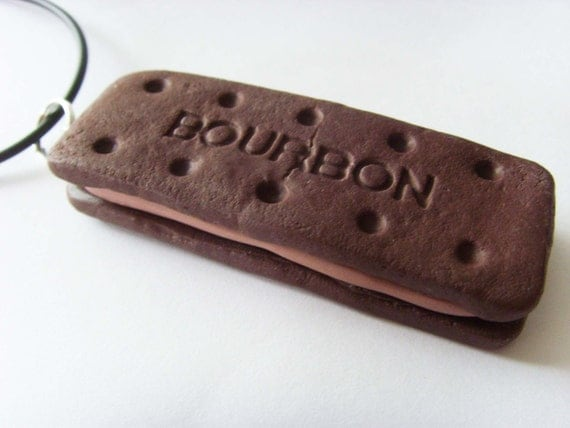 Chocolate Bourbon Biscuit Necklace - Black Rubber Chord