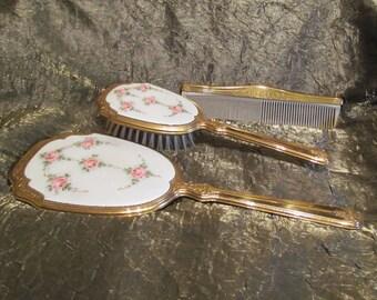 1930's Guilloche Vanity Set Vintage Dresser Set Brush Mirror & Comb Set Enamel