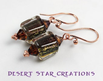 Copper Caramel Cane Glass Earrings, Yellow Topaz Gold Rust Furnace Glass Earrings