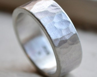 unisex silver ring - matte finish - handmade hammered artisan designed sterling silver wedding or engagement band - customized