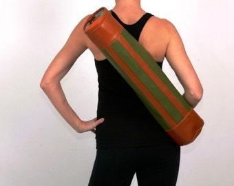 Closeout Sale- Swank Retro Yoga Mat Bag in Green and Tan