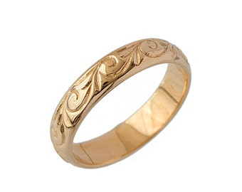Vintage Wedding Ring Rose Gold Scrolls Foliage / Unique Wedding Ring / Wedding Ring Women / Wedding Ring Vintage / Engraved Ring
