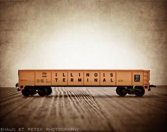 Toy Train Print, Yellow Flatcar, Photo Print, Nursery Decor, Rustic DecorToy Trains, Baby room ideas, Boys Room Decor,
