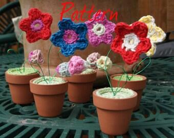 Mini- pot plants PDF crochet pattern UK notation