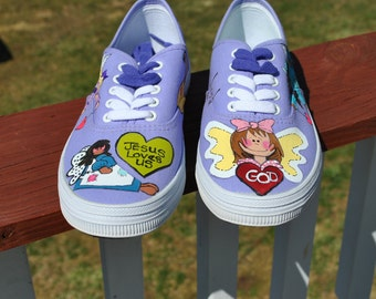 Purple Hand Painted sneakers adorned with angels size 7 1/2 - sold