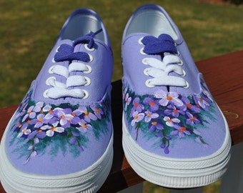 Purple sneakers with Hand Painted Flowers size 8 - SOLD