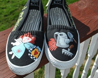ON SALE Fun Little Gardening Hand Painted Shoes size 7 SOLD