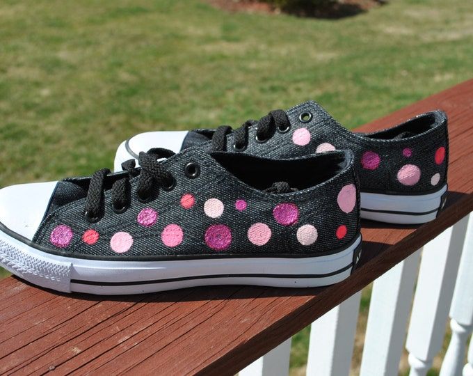 ON SALE Simply Polka Dots hand painted sneakers size 6.5