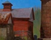"Berkshire farm landscape, ""Sheep Hill"", original framed oil on canvas, 12 x 12"