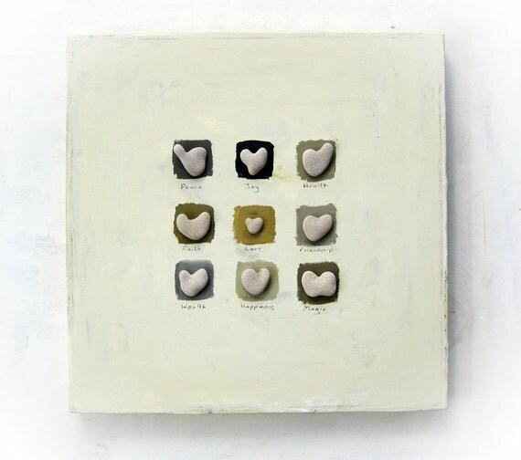 OOAK Unique Birthday gift -  Heart shaped Beach rocks