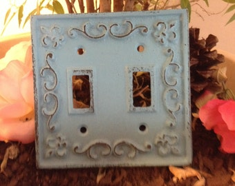 Light Switchplates/ Shabby Chic Plates/ SwitchPlates/ Cast Iron SwitchPlates - Set of Two