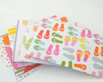 Party Colorful Envelopes - Handmade - Set of 6 - Red, Green, Orange, Yellow, Blue, White, Spring, Sandals, Beach, Kids, Figures, Colors