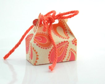 Jewelry Gift Wrap Box - Box for Rings - Orange, Pink, Vanilla, White, Coral, Cream, Ivory, Beige, Lovely, Favor, Spring, Mini Box