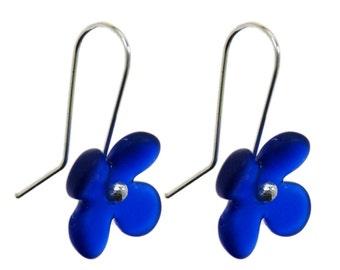 Hydrangea Flower Recycled Glass Earrings.