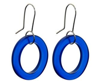 Small Hoop Recycled Blue Glass Earrings