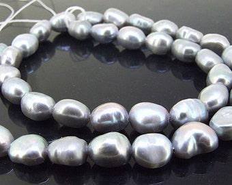 "Rice Freshwater pearl Cultured Pearl Grey  Pearl 7mm-8mm Gemstone Beads Full Strand 15"""