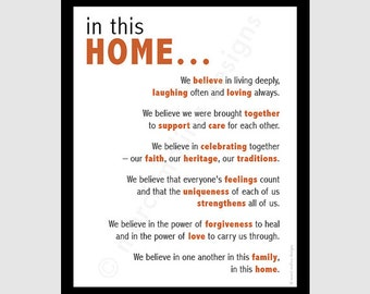 family beliefs - printable digital DIY - home quote  - 8x10 pdf - house rules