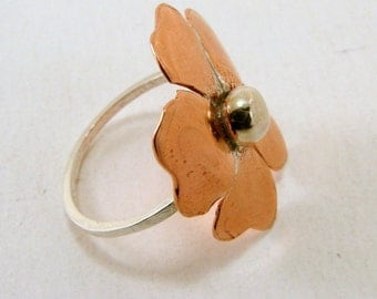 Sterling Silver and Copper or Red Brass  Flower Ring - Any Size