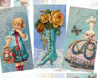 Vintage paris fashion Marie Antoinette 1x2 inchies digital collage sheet domino tile (369)