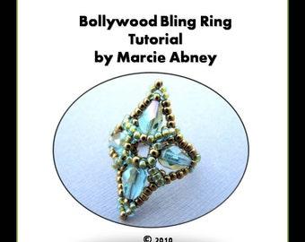 Beadweaving Tutorial - Bollywood Bling Beadwoven Ring