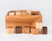 Wooden Alphabet Blocks (Developmental, Montessori, Natural, Wood Toy)
