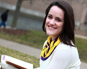 "Infinity Scarf  - Purple and Yellow Color - w/Yellow Band - Approx. 28"" - 14 strands, Back To School"