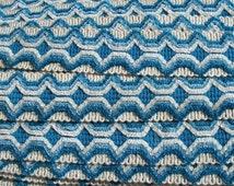 Beautiful Length vintage French Passementerie Wide Trim Cornflower Blue Brocade edging