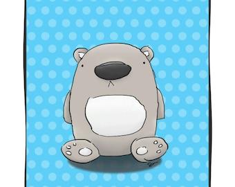 Teddy Boo Bear - 5x7 Nursery Print