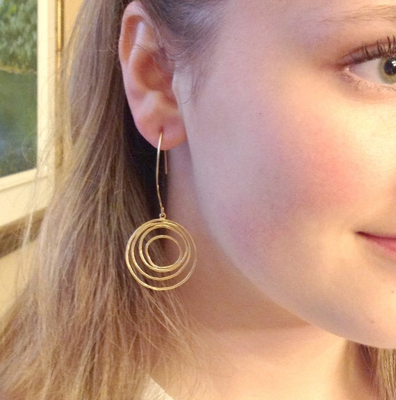 Gift for her Modern Preppy jewelry Dangle Hoop earrings Gold earrings on Vermeil gold marquise earrings Office fashion for her