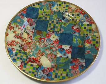 Asian Style Decoupaged Glass Plate: Checkerboard Fans