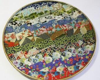 Asian Style Decoupaged Glass Platter: Joy Quilt