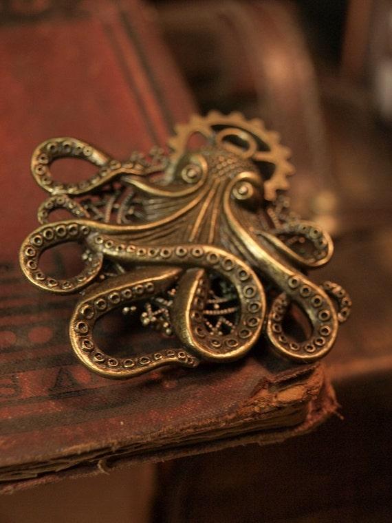 Antique Bronze M-Size Octopus steampunk brooch