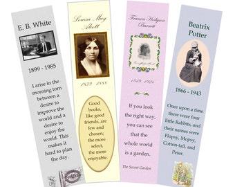 "Bookmarks, PDF, ""Children's Authors 2"", 4 printable digital designs"