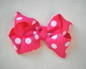 Minnie Mouse Inspired Hot Pink and White Polka Dots Hair Bow