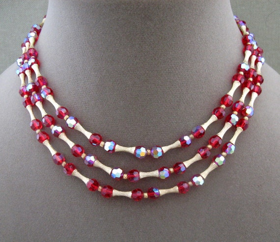 Crown Trifari Red Crystal Triple Strand Necklace, designer signed necklace