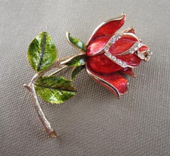 Red Rose Brooch, rhinestone rose, flower brooch