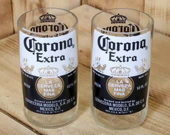 Corona Beer 8 ounce Glasses made from repurposed bottles