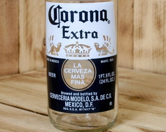 Corona Extra 18 ounce Drinking Glass made from upcycled Corona Beer Bottle