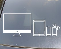 Electronic Devices Family Car Sticker Set of 4
