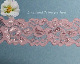 Rose Lace Trim 8/16 Yards Stretch Floral 1-1/2 inch wide Lot D26B Added Items Ship No Charge
