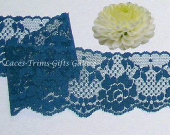 Peacock Lace Trim 10 Yards Scalloped Roses 2-1/4 inch M101C Added Items Ship No Charge