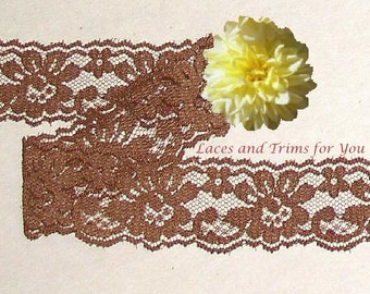 Brown Lace Trim 12/24 Yards Scalloped Floral 1-1/4 inch wide Lot N35A Added Items Ship No Charge