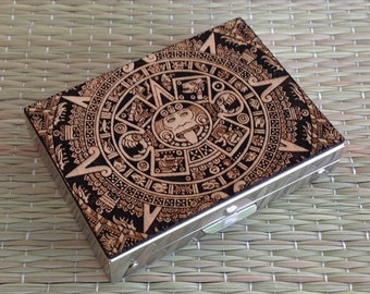 Engraved Aztec Calendar Wood Pill Box,Medication container,Earring Case,Small Wood Pill Box Case,Medicine Box Case,Retro Pill Container